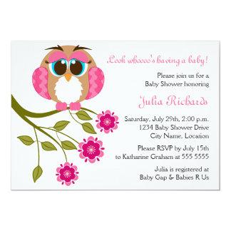 Baby-blaue Augen-Eulen-Babyparty-Einladung 12,7 X 17,8 Cm Einladungskarte