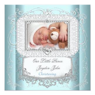 Baby-blauer Tauftaufe-Kreuz-Prinz Personalisierte Einladung