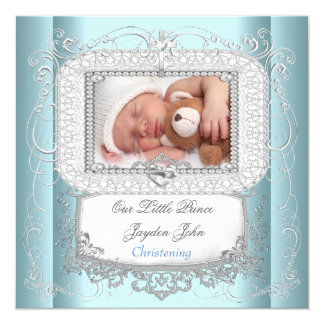 Baby-blauer Tauftaufe-Kreuz-Prinz Quadratische 13,3 Cm Einladungskarte