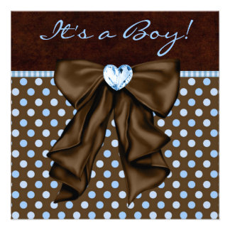 Baby-blaues Brown-Baby-Dusche Personalisierte Einladung