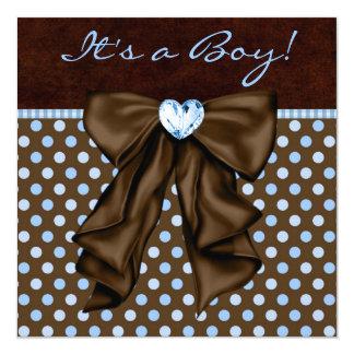 Baby-blaues Brown-Baby-Dusche Quadratische 13,3 Cm Einladungskarte