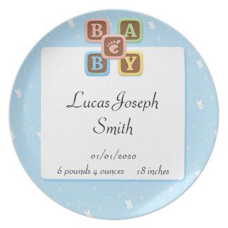 Baby-Blöcke auf blauem Häschen-Baby Flache Teller