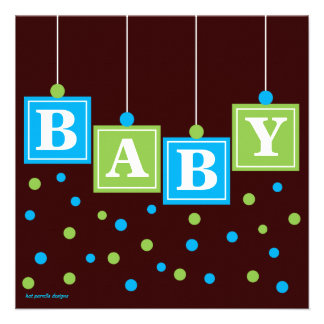 BABY blockiert blaues Grün-Jungen-Paar-Babyparty Individuelle Ankündigungen