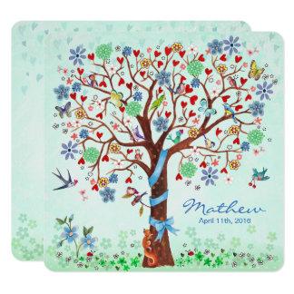 Baby-Blumen-Baum Geburts-Mitteilungs-des Jungen Quadratische 13,3 Cm Einladungskarte