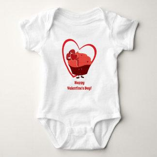 Baby-Bodysuit des Valentinsgruß-Kuchen-Charakter-| Baby Strampler