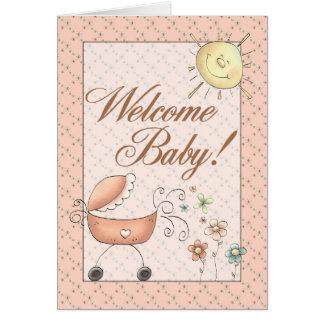 Baby-Buggy-subtiles willkommenes mit Blumenbaby Karte