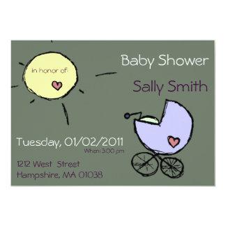 Baby-Buggy und Sonne - Babyduscheneinladungen 12,7 X 17,8 Cm Einladungskarte