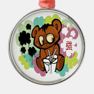 Baby-Cartoonchinese des Bären niedlicher Rundes Silberfarbenes Ornament