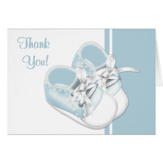 Baby-danken blaue Babyschuhe Ihnen Karten