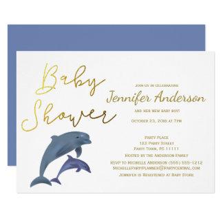 Baby-Delphin-Jungen-oder Mädchen-Babyparty 12,7 X 17,8 Cm Einladungskarte