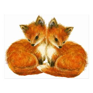 Baby-Doppelfüchse Postkarte