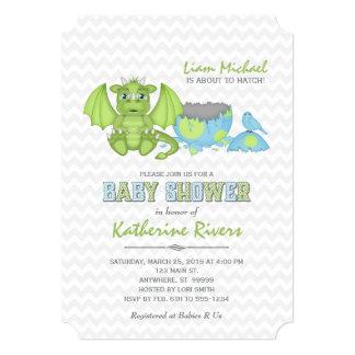 Baby-Drache-Babyparty-Einladungs-grün-blaues Grau Karte