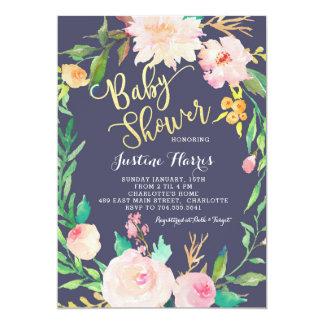 Baby-Dusche, blaue Blumen, Goldeinladung Karte