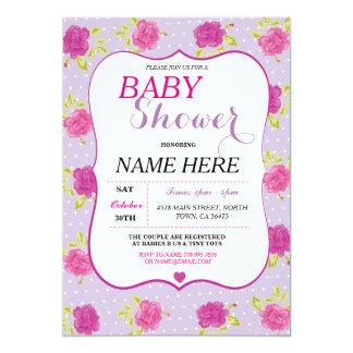 Baby-Dusche ist es ein Mädchen-Party, das lila 12,7 X 17,8 Cm Einladungskarte