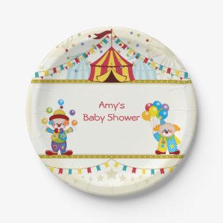 Baby-Dusche, niedliche Clowns, Zirkus, Gewohnheit Pappteller