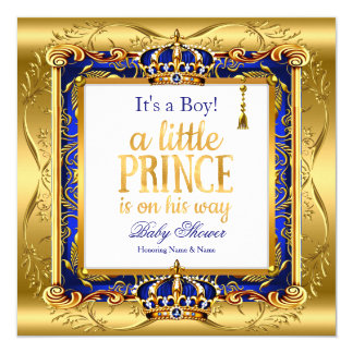 Baby-Duschen-blaues verziertes Gold Prinz-Boy Karte