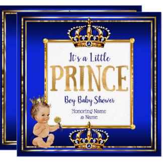 Baby-Duschen-königliches Blau-Gold Prinz-Boy Karte