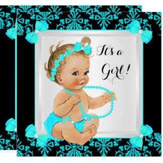 Baby-Duschen-Mädchen-Damast-aquamarine blaues Karte