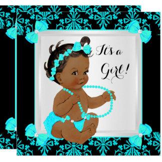 Baby-Duschen-Mädchen-Damast-aquamarines blaues Karte