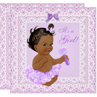 Baby-Duschen-Mädchen-hübsche Lavendel-Spitze Karte