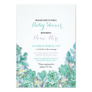 Baby-Duschen-Partysucculents-mit Blumenaquamarines 12,7 X 17,8 Cm Einladungskarte