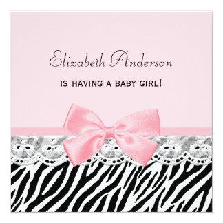 Baby-Duschen-Rosa-Band und Spitzezebra-Druck Quadratische 13,3 Cm Einladungskarte