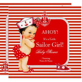 Baby-Duschen-Seemann-Mädchen-roter weißer Streifen Karte