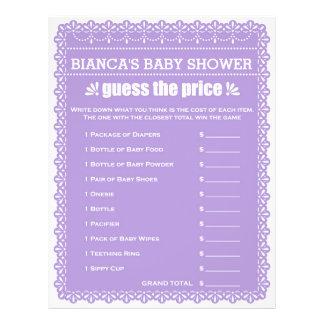 Baby-Duschen-Spiel in lila Papel Picado Flyer