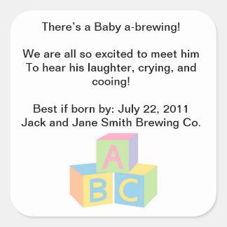 Baby-Duschen-Tee-Party Quadratischer Aufkleber