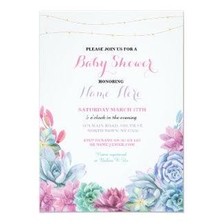 Baby-Duschen-Verlobungs-Party-Blumenrosa laden ein 12,7 X 17,8 Cm Einladungskarte