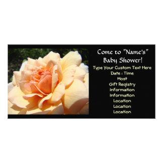 Baby-Duscheneinladungen Pfirsich-Rosen-Blume Bildkarten
