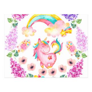 Baby-Einhorn, das in ihren multi Produkten des Postkarten