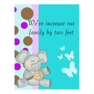Baby-Elefant aquamarines Brown und lila Postkarte