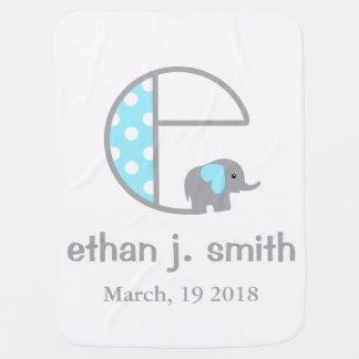 Baby-Elefant-blaue Tupfen-Decken-Initiale C Kinderwagendecke