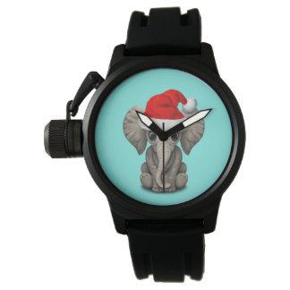 Baby-Elefant, der eine Weihnachtsmannmütze trägt Armbanduhr