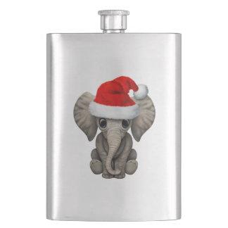 Baby-Elefant, der eine Weihnachtsmannmütze trägt Flachmann