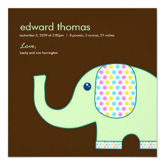 Baby-Elefant-Geburts-Mitteilung, Brown und Grün Quadratische 13,3 Cm Einladungskarte