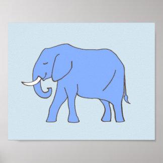 Baby-Elefant-Kinderzimmer-Kunst im Blau Poster