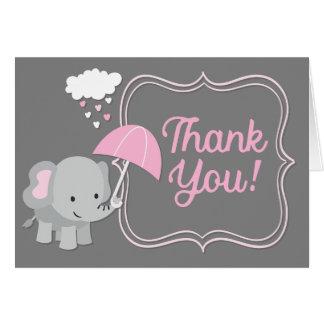 Baby-Elefant-Mädchen-Babyparty-Rosa danken Ihnen Karte