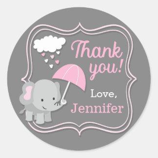 Baby-Elefant-Mädchen danken Ihnen Runder Aufkleber