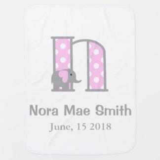 Baby-Elefant-Rosa-Tupfen-Decken-Buchstabe N Kinderwagendecke