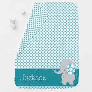 Baby-Elefant-u. Polka-Punkte | personalisiert Babydecke