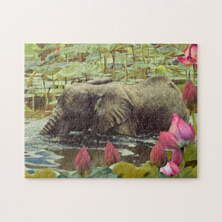 Baby-Elefant-und Lotos-Blumen Puzzle