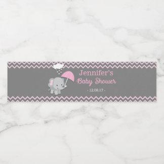Baby Elephant Girl Baby Shower Water Bottle Labels Wasserflaschenetikett