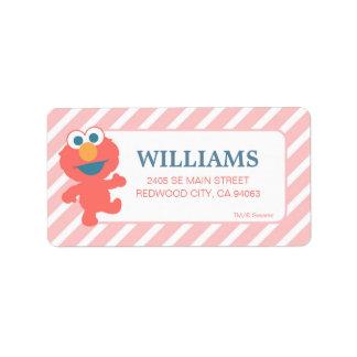 Baby Elmo des Sesame Street-| rosa gestreiftes Adressaufkleber