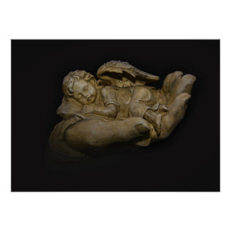 Baby-Engels-Flügel die in der Hand schlafen Plakat