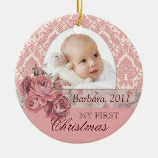 Baby-erste WeihnachtsFoto-Verzierung Keramik Ornament