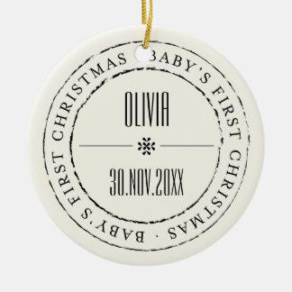 Baby-erste Weihnachtskreis-Siegel-Foto-Verzierung Rundes Keramik Ornament