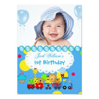 Baby-erster Geburtstags-1. Zug-Blau 11,4 X 15,9 Cm Einladungskarte