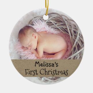 Baby-erster WeihnachtsFoto-Feiertag Rundes Keramik Ornament